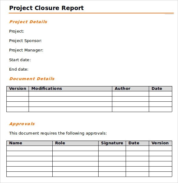 9 Sample Project Closure Report Template Examples Sample Templates - Project Summary Report Sample