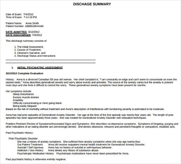 discharge summary templates