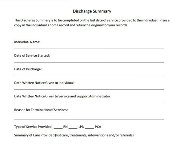 Patient Discharge Summary Template - Costumepartyrun