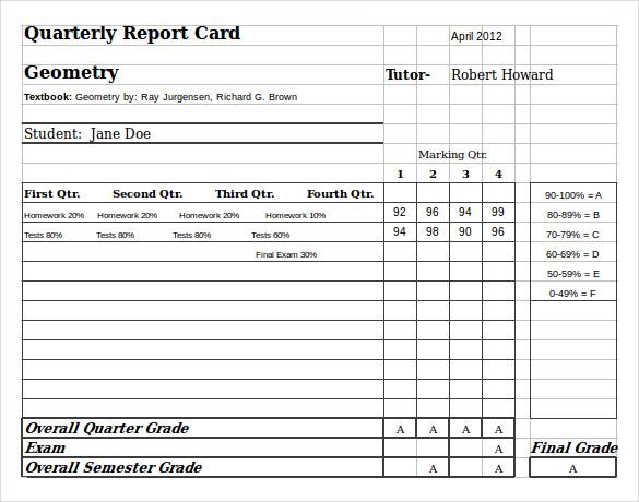 report card samples high school