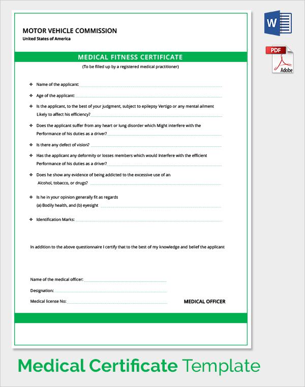 Doc600600 Medical Certificate Sample Medical Certificate – Free Medical Certificate
