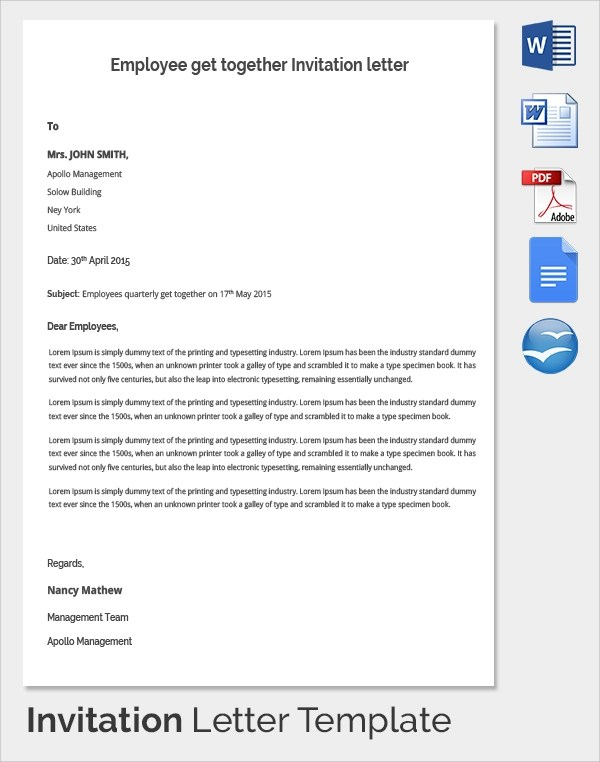 18+ Invitation Letters Sample Templates - get together invitation template