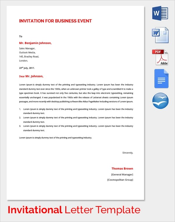 Sample Invitation Letter - 17+ Download Free Documents In PDF, Word