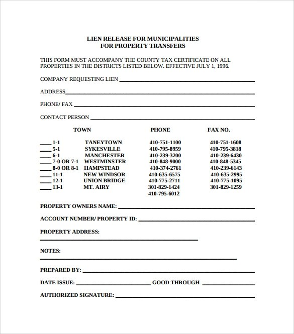 Lien Release Forms Lien Waiver Form Lien Release Form To Download