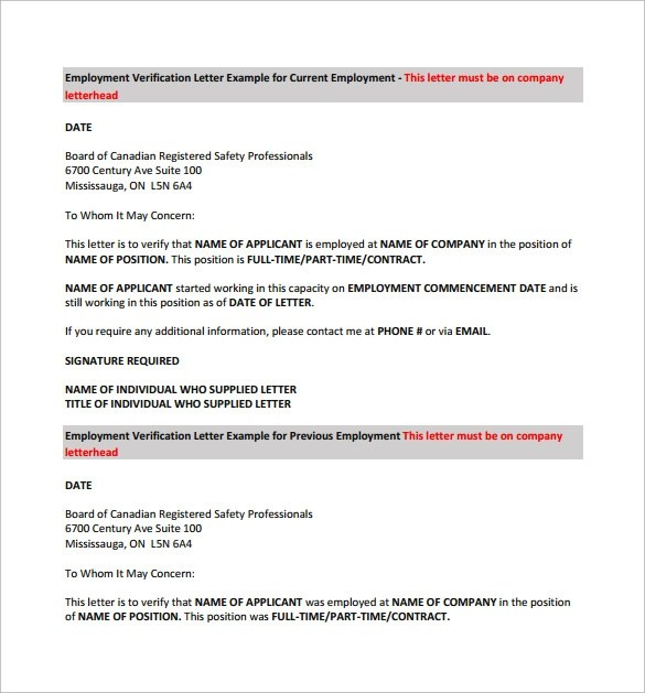 Current Employment Verification Letter Sample | How To Write A Cv