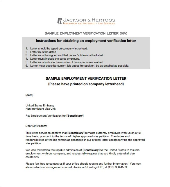 18 Employment Verification Letter Templates Download for Free