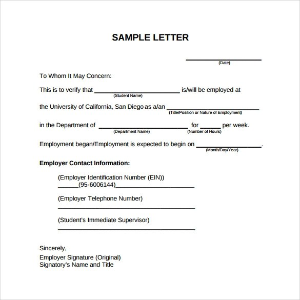 Sample Previous Employment Verification Letter – Previous Employment Verification Letter