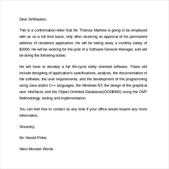 examples of employment verification letter