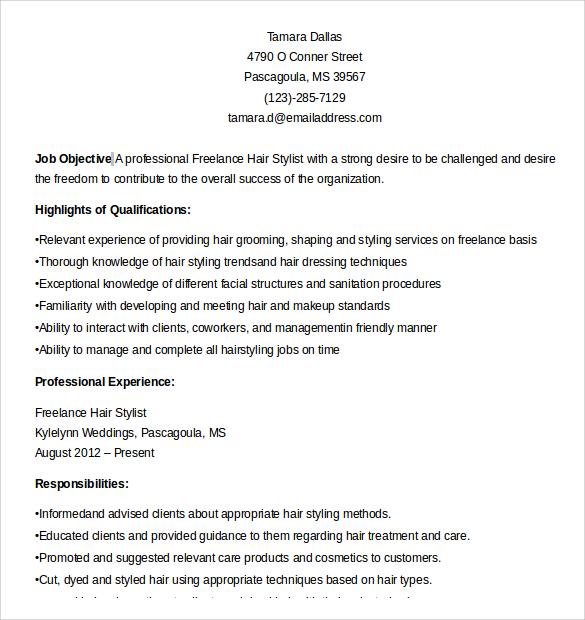 Sample Hair Stylist Resume - 7+ Free Documents In PDF, Word - hair stylist resume