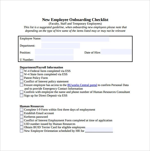 13+ New Hire Checklist Samples Sample Templates - new hire checklist template