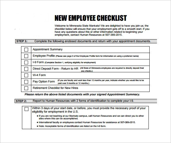 13+ New Hire Checklist Samples Sample Templates - sample new hire checklist template