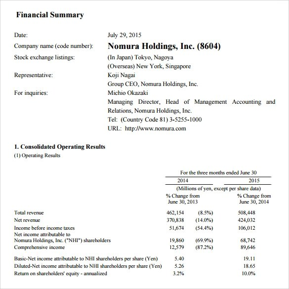 7+ Financial Summary Samples, Examples, Templates Sample Templates - sample summary report template