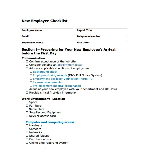 13+ New Hire Checklist Samples Sample Templates