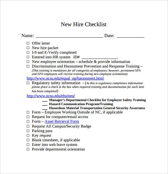 New employee orientation checklist templates - visualbrainsinfo - sample new hire checklist template