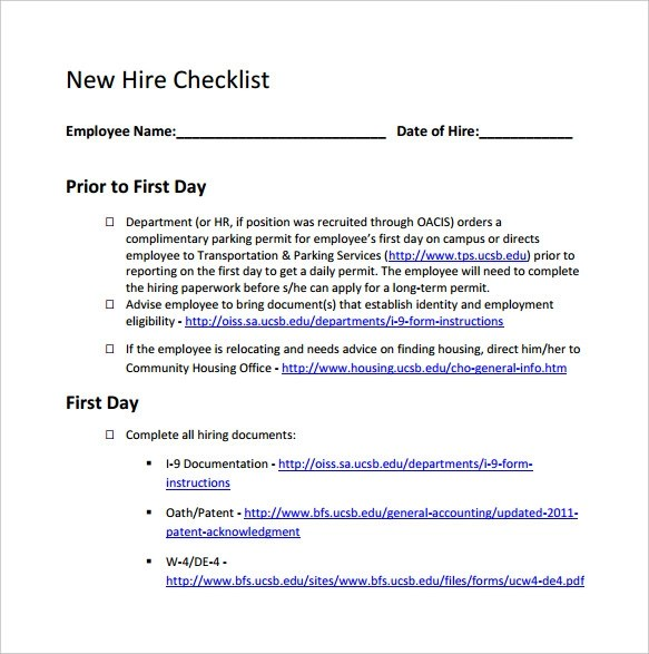New Hire Checklist Sample - 14+ Documents In PDF