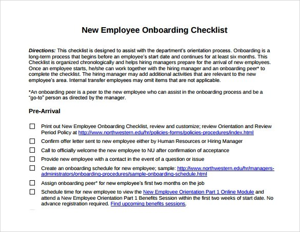new hire employee checklist template - sample new hire checklist template