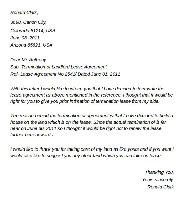 terminating lease agreement letter - Onwebioinnovate - rental agreement letters