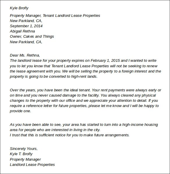 7+ Sample Landlord Lease Termination Letters - PDF, Word, Apple Pages