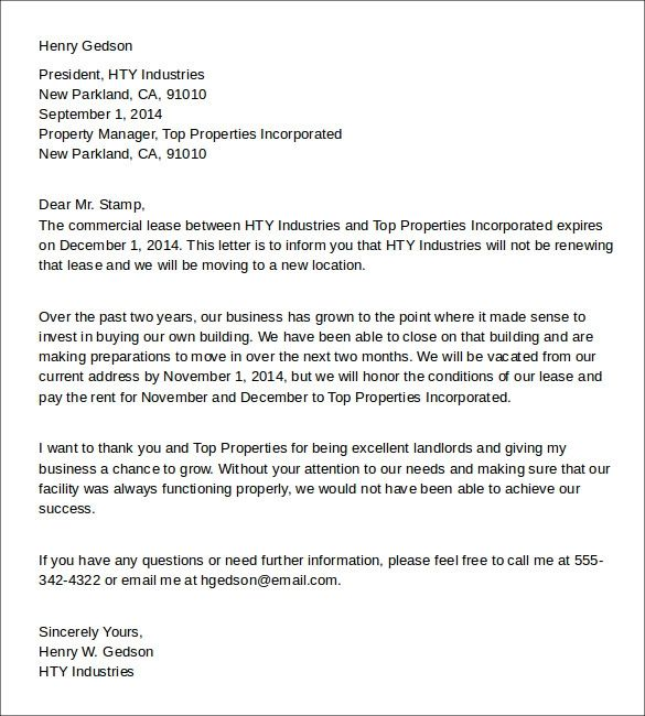 landlord sample letters