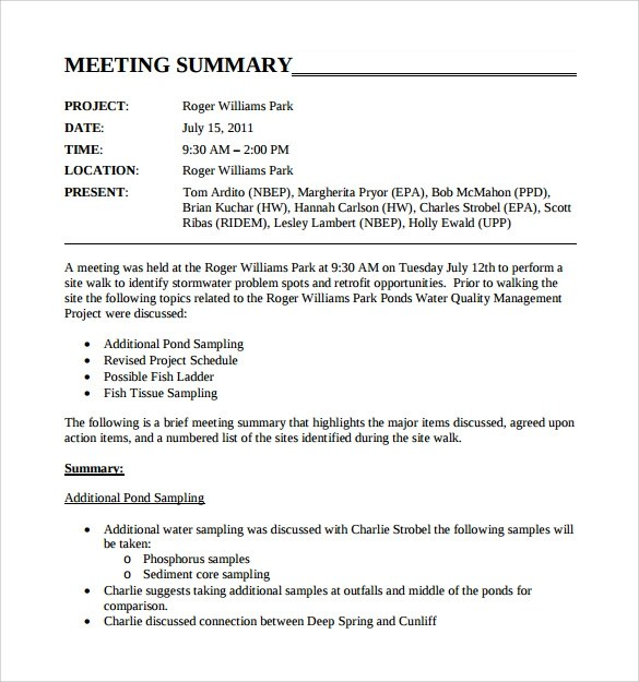 Sample Meeting Summary Template - 11+ Free Documents in PDF, Word - sample meeting summary template