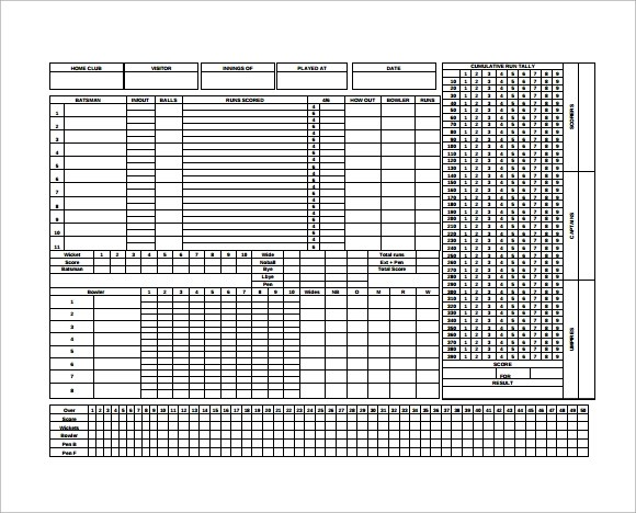 9+ Sample Canasta Score Sheet Templates Sample Templates - sample cricket score sheet