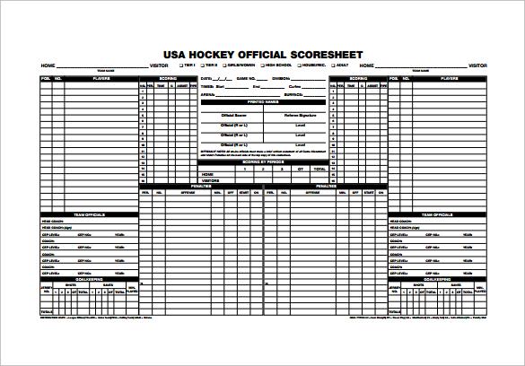 10+ Sample Hockey Score Sheets Sample Templates