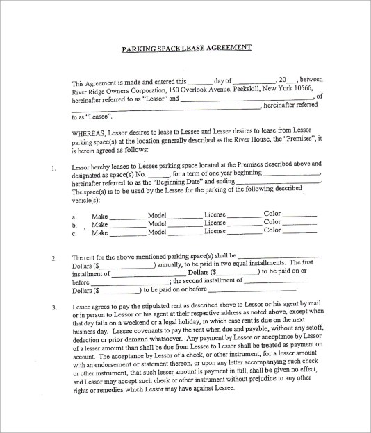 10+ Parking Lease Templates Sample Templates - parking agreement template