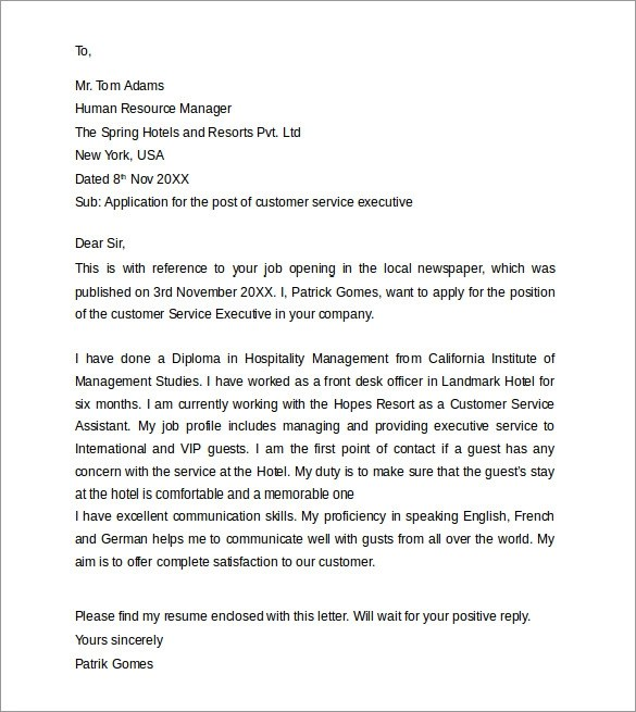 Customer Service Representative Cover Letter Sample Customer Service Cover Letters 8 Download Free