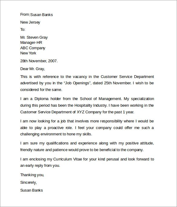 Job Cover Letter For Customer Service - wwwbuzznow