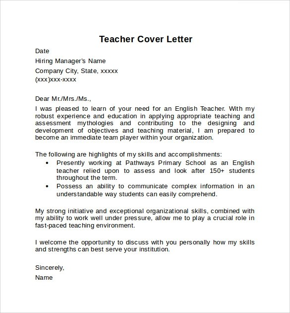 10+ Teacher Cover Letter Examples Download For Free Sample Templates - cover letter for teaching