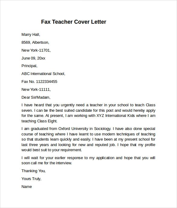 10+ Teacher Cover Letter Examples Download For Free Sample Templates - cover letters for teachers