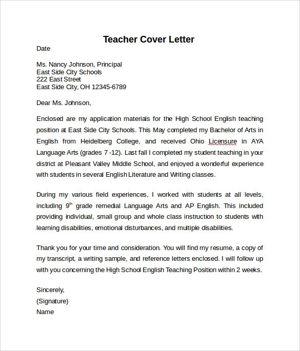 10+ Teacher Cover Letter Examples Download For Free Sample Templates - Cover Letters Examples