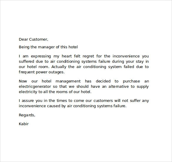 Sample Hotel Apology Letter - 7+ Download Free Documents in PDF , Word