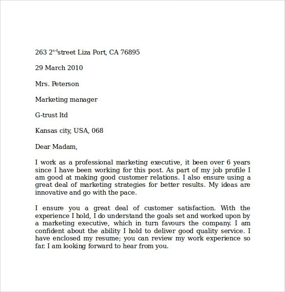 10 Marketing Cover Letter Examples to Download Sample Templates - marketing letter format