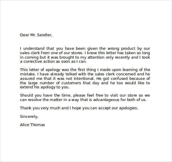 Apology Letter To Customer For Mistake – Apology Letter to Customer for Mistake