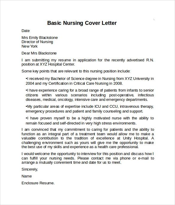 cover letter nursing resume