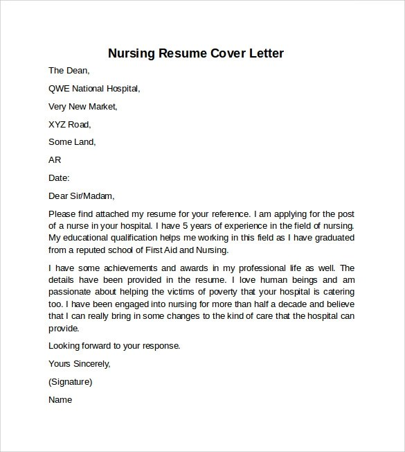 Resume Cover Letter Examples For Nurses - Examples of Resumes - nursing cover letter examples for resume