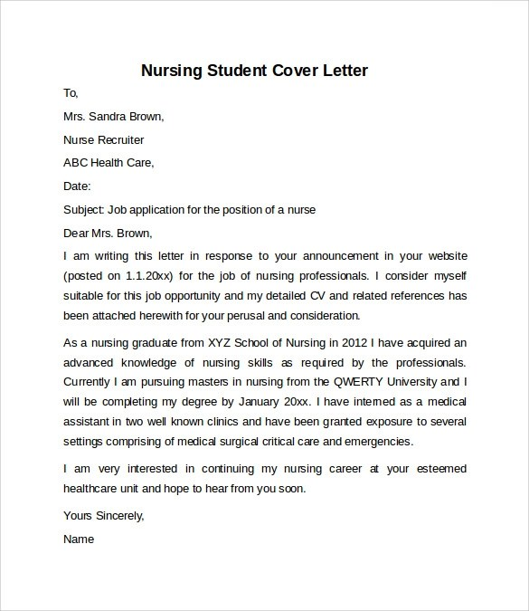 Resume Cover Letter Examples Nursing Student Resume Cover Letter Examples Get Free Sample Cover Letters Nursing Cover Letter Example 10 Download Free Documents