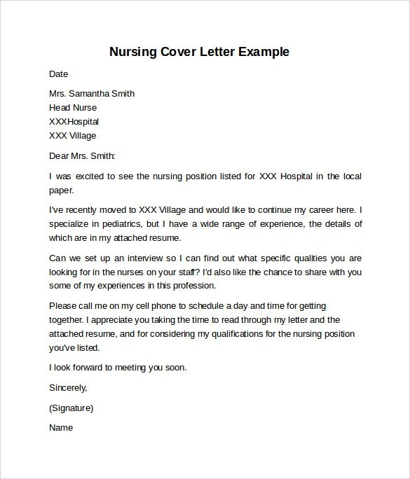 10 Sample Nursing Cover Letter Examples to Download Sample Templates - free cover letter templates