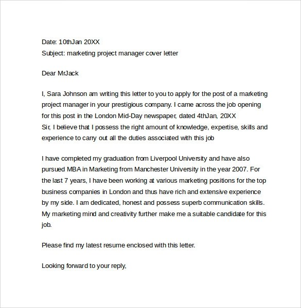 Marketing Cover Letter Examples - 10+ Download Free Documents in PDF