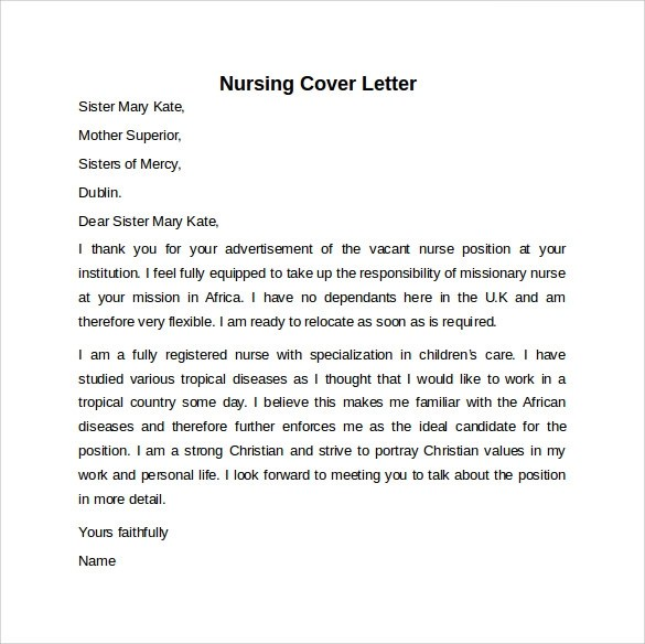 Nursing Job Cover Letter Examples - Missionary Nurse Sample Resume