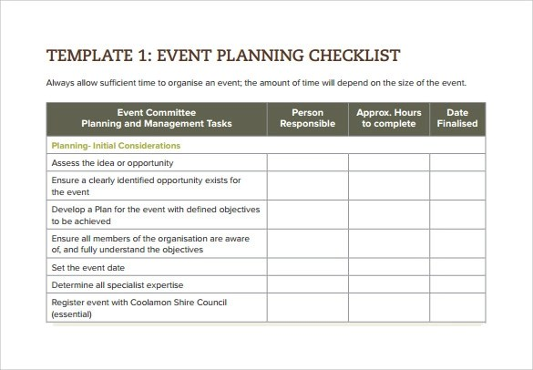 Sample Event Checklist Template - 9+ Free Documents Download In Word
