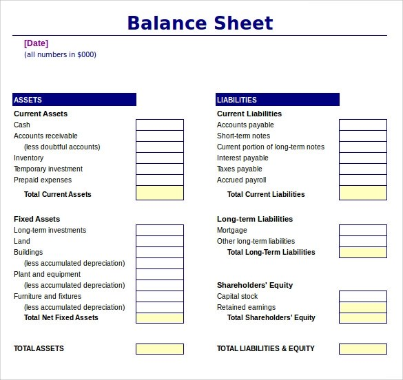 Sample Balance Sheet - 18+ Documents in Word, PDF, Excel