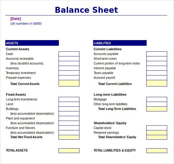 download balance sheet template - Ozilalmanoof