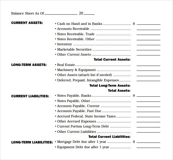 18+ Sample Balance Sheets Sample Templates - balance sheet formats