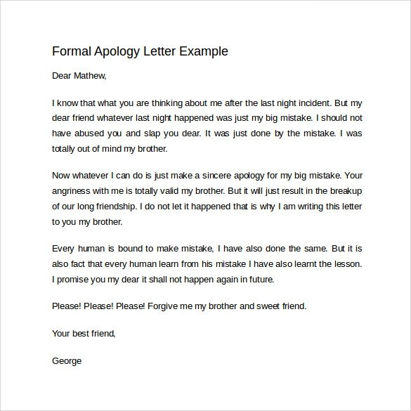 8 Sample Formal Apology Letters to Download Sample Templates - letter of apology sample