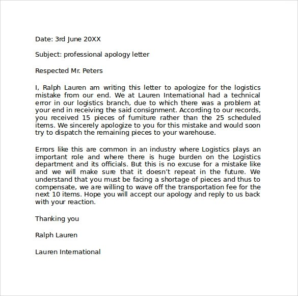 professional letter of apology template - professional apology letter