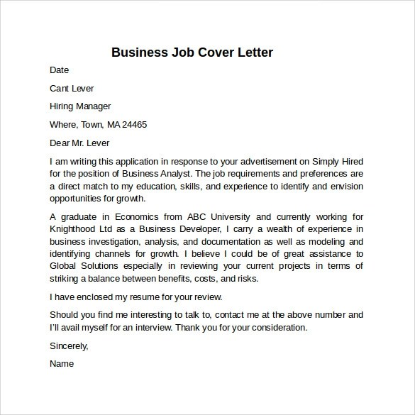 Sample Cover Letters Marketing Jobs