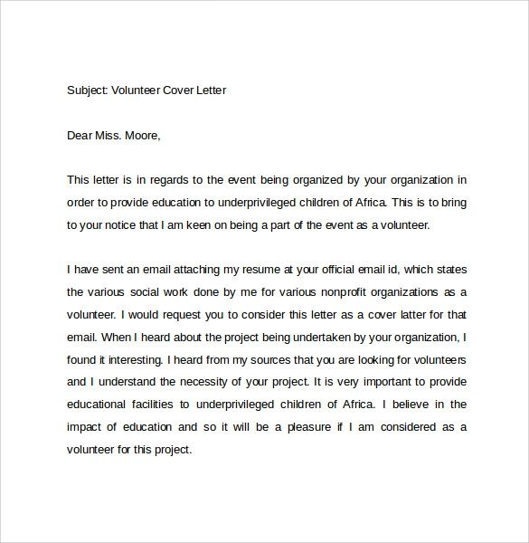 cover letter for work application