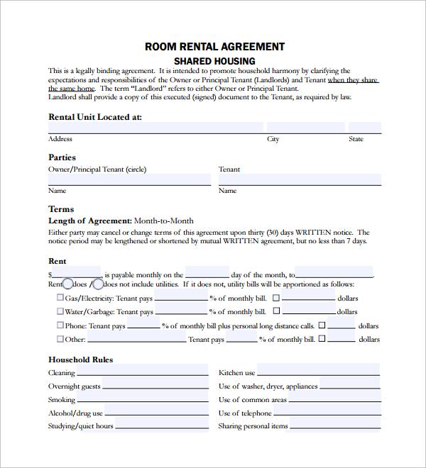 room rent lease agreement - Pinarkubkireklamowe